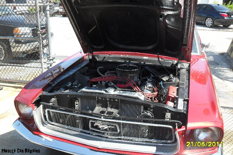 68 Mustang Engine installed with new radiator